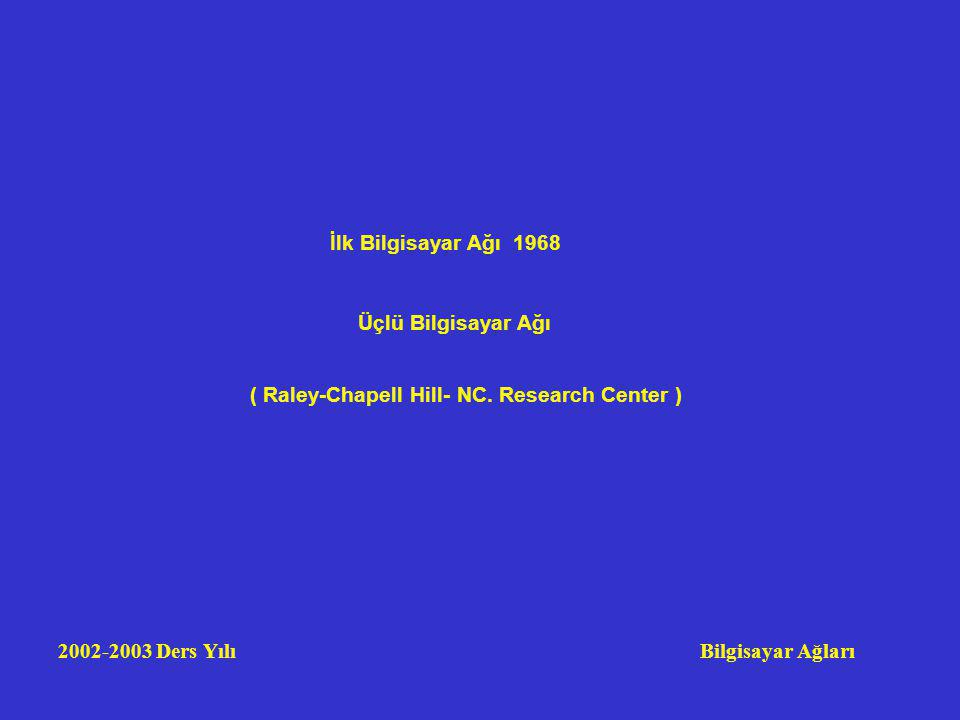 2002-2003 Ders Yılı Bilgisayar Ağları 1968 Üçlü Bilgisayar Ağı ( Raley-Chapell Hill- NC.