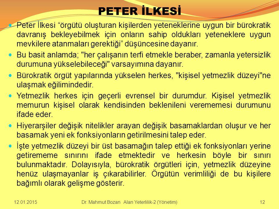 """PETER İLKESİ Peter İlkesi """"örgütü oluşturan kişilerden yeteneklerine uygun bir bürokratik davranış bekleyebilmek için onların sahip oldukları yetenekl"""