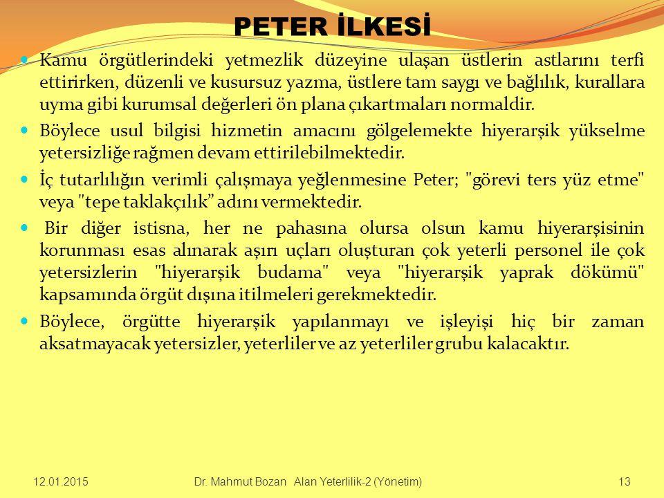 PETER İLKESİ Kamu örgütlerindeki yetmezlik düzeyine ulaşan üstlerin astlarını terfi ettirirken, düzenli ve kusursuz yazma, üstlere tam saygı ve bağlıl