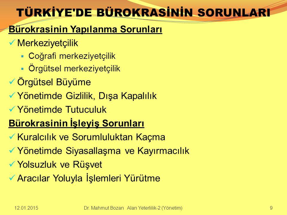 TÜRKİYE'DE BÜROKRASİNİN SORUNLARI Bürokrasinin Yapılanma Sorunları Merkeziyetçilik  Coğrafi merkeziyetçilik  Örgütsel merkeziyetçilik Örgütsel Büyüm