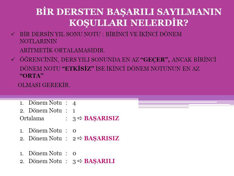ÖRNEK : Türkçe-Matematik alanını seçmek isteyen bir öğrencinin yıl sonu ortalamaları aşağıdaki gibidir.