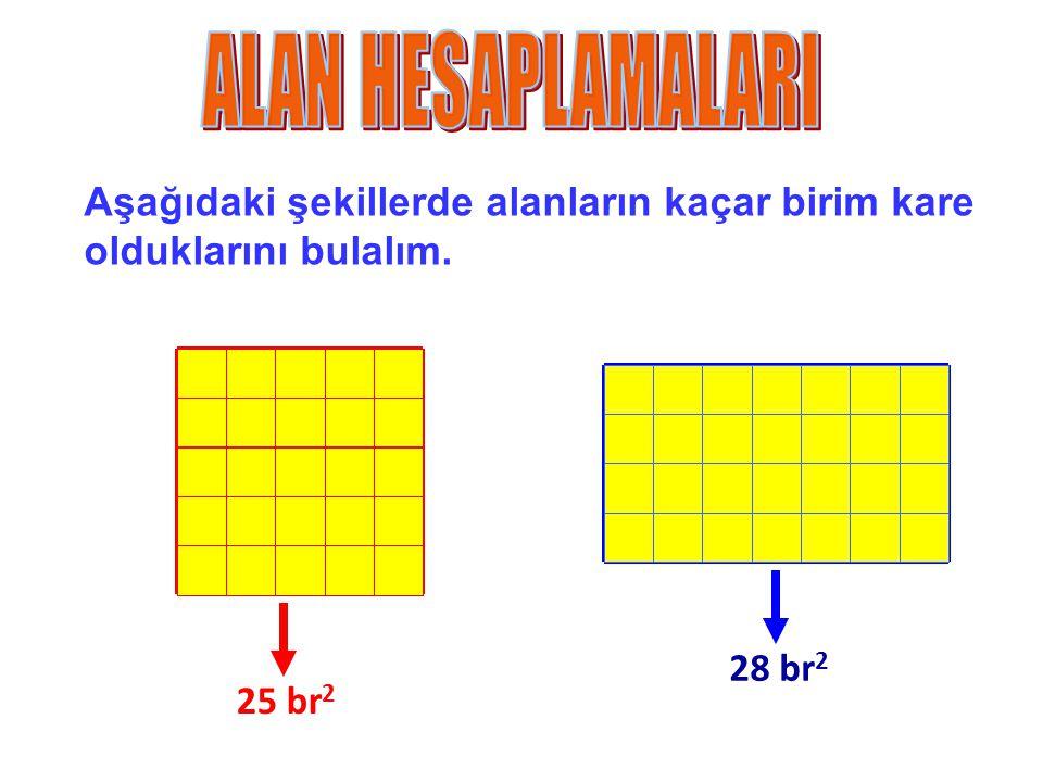 Aşağıdaki şekillerde alanların kaçar birim kare olduklarını bulalım. 25 br 2 28 br 2