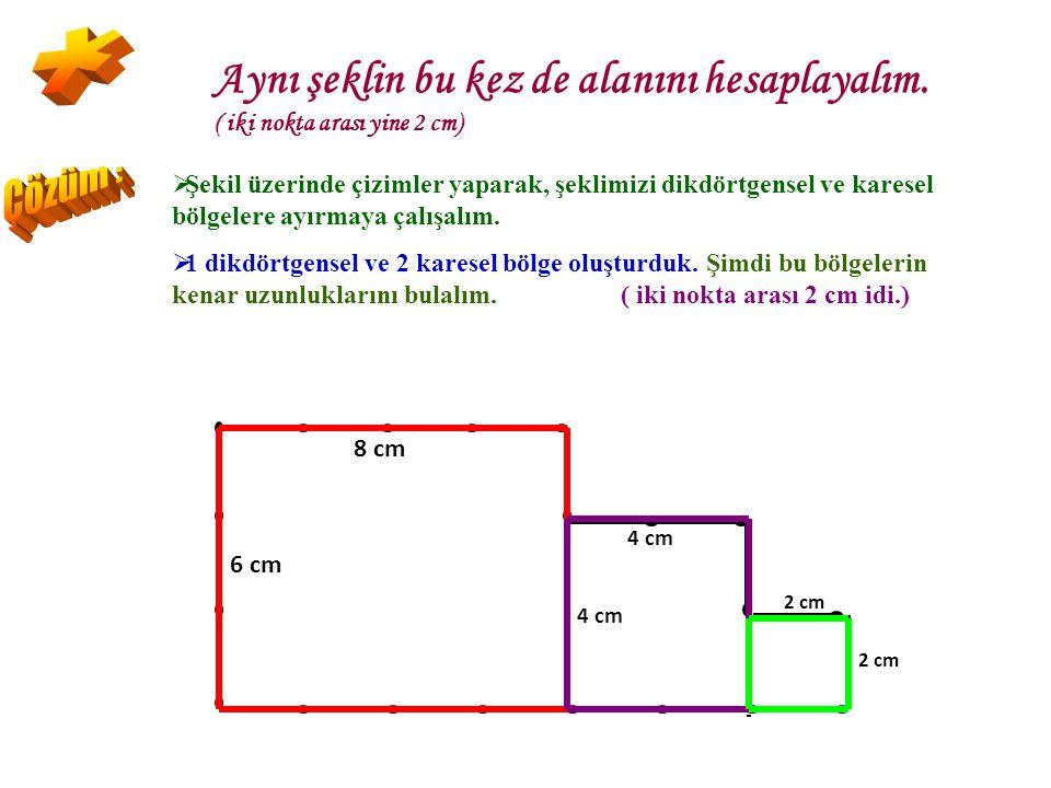 Şekilde iki nokta arası 2 cm'dir. Buna göre şeklin çevresi kaç santimetredir? Kaç tane nokta aralığı olduğunu bulur ve 2 ile çarparız. Toplam : 20 tan