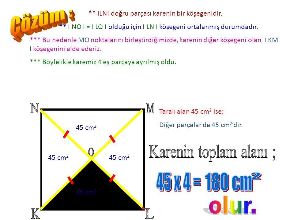 Şekilde KLMN karesel bir bölgedir. I LO I ve I NO I uzunlukları birbirine eşit ve KLO üçgeninin alanı 45 cm 2 ise, tüm şeklin alanı kaç cm 2 'dir?