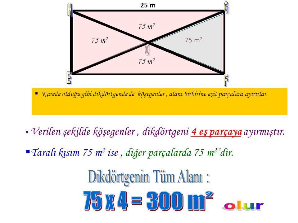 75 m 2 25 m Şekilde verilenlere göre EFGH dikdörtgeninin çevresi kaç metredir? D ikdörtgenin bir kenarı ile alanının bir kısmı verilmiş, bizden çevres