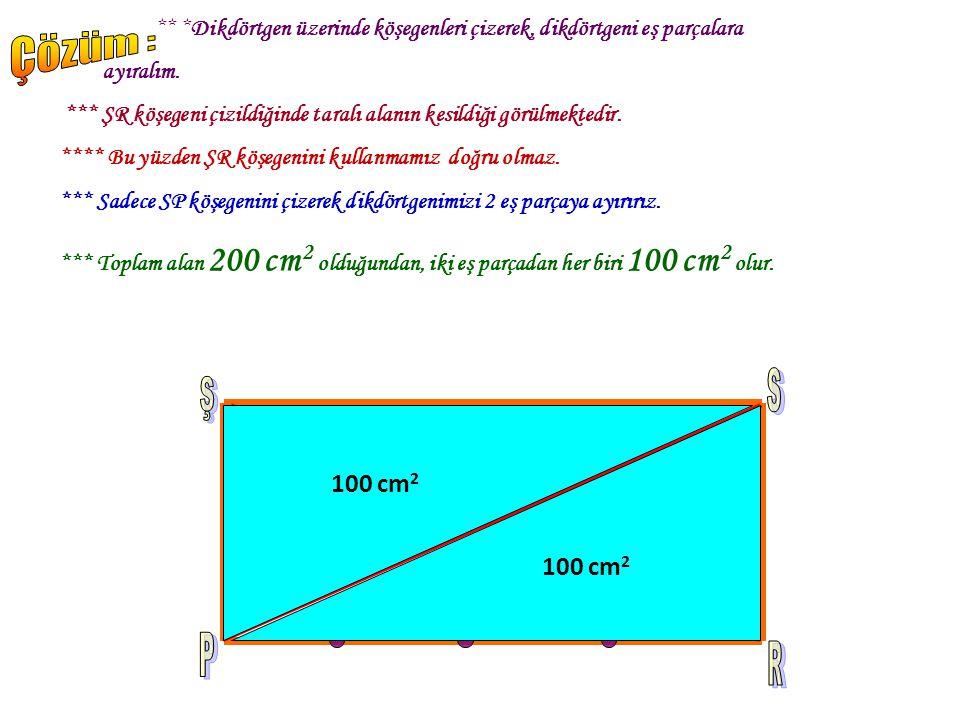 Şekildeki PRSŞ dikdörtgeninde I PR I k enarı dört eşit parçaya ayrılmıştır. Dikdörtgenin tüm alanı 200 cm 2 ise, taralı alan kaç cm 2 'dir?