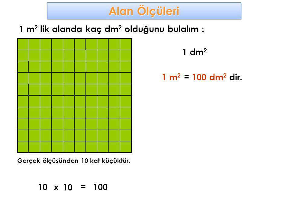 1 m 2 lik alanda kaç dm 2 olduğunu bulalım : Gerçek ölçüsünden 10 kat küçüktür. 1 dm 2 10x 10 100= 1 m 2 = 100 dm 2 dir.
