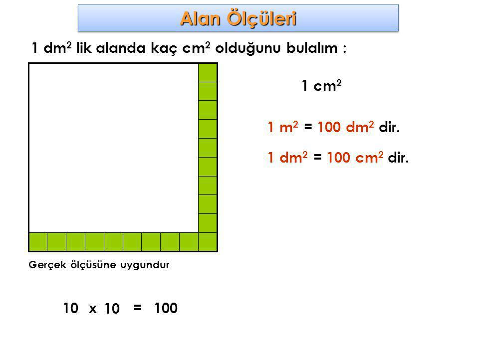 1 dm 2 lik alanda kaç cm 2 olduğunu bulalım : Gerçek ölçüsüne uygundur 1 cm 2 10x 10 100= 1 m 2 = 100 dm 2 dir. 1 dm 2 = 100 cm 2 dir.