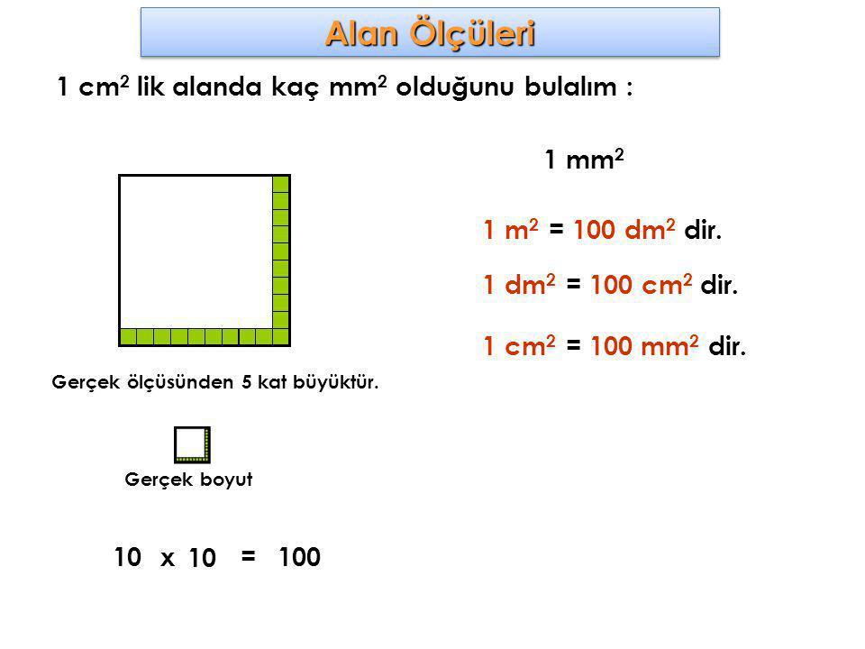 Alan Ölçüleri 1 cm 2 lik alanda kaç mm 2 olduğunu bulalım : Gerçek ölçüsünden 5 kat büyüktür. 1 mm 2 10x 10 100= 1 m 2 = 100 dm 2 dir. 1 dm 2 = 100 cm