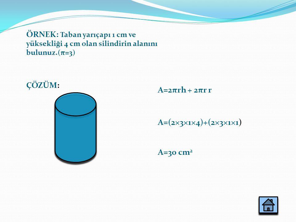 ÖRNEK: Taban yarıçapı 1 cm ve yüksekliği 4 cm olan silindirin alanını bulunuz.(π=3) A=2πrh + 2πr r A=(2×3×1×4)+(2×3×1×1) A=30 cm 2 ÇÖZÜM: