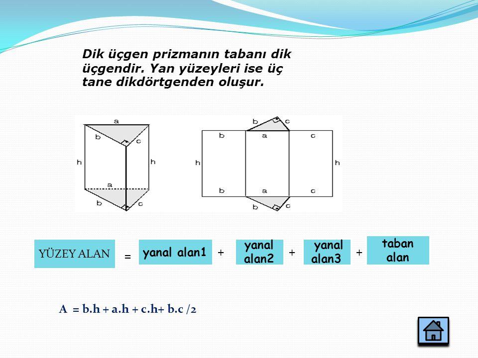 Dik üçgen prizmanın tabanı dik üçgendir. Yan yüzeyleri ise üç tane dikdörtgenden oluşur. yanal alan1 A = b.h + a.h + c.h+ b.c /2 YÜZEY ALAN yanal alan