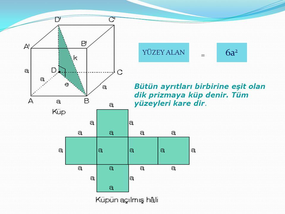 YÜZEY ALAN = 6a 2 Bütün ayrıtları birbirine eşit olan dik prizmaya küp denir. Tüm yüzeyleri kare dir.