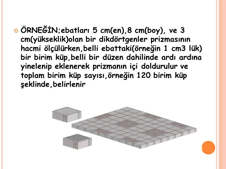 ÖRNEĞİN;ebatları 5 cm(en),8 cm(boy), ve 3 cm(yükseklik)olan bir dikdörtgenler prizmasının hacmi ölçülürken,belli ebattaki(örneğin 1 cm3 lük) bir birim
