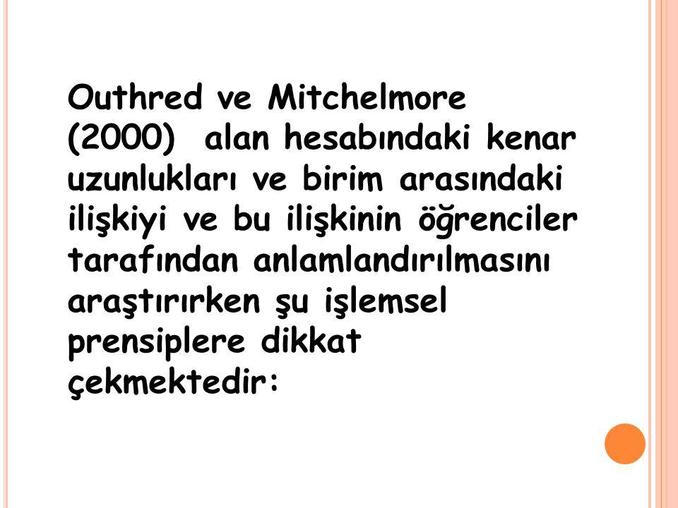 Outhred ve Mitchelmore (2000) alan hesabındaki kenar uzunlukları ve birim arasındaki ilişkiyi ve bu ilişkinin öğrenciler tarafından anlamlandırılmasın