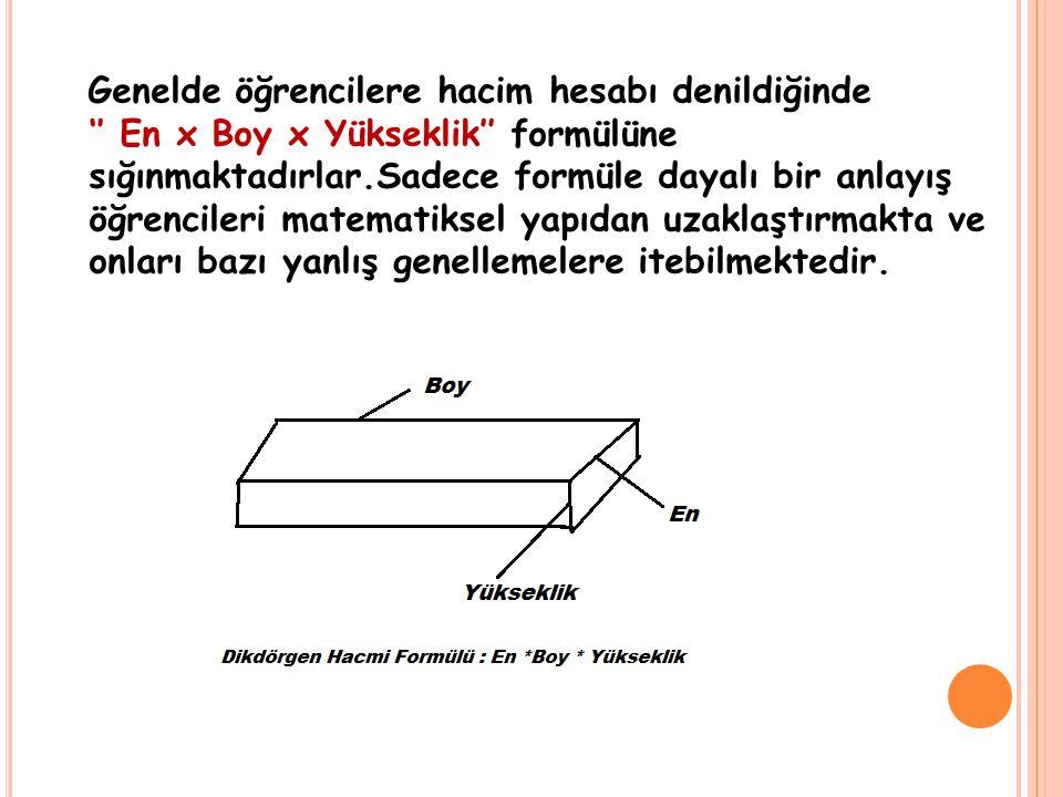 Genelde öğrencilere hacim hesabı denildiğinde '' En x Boy x Yükseklik'' formülüne sığınmaktadırlar.Sadece formüle dayalı bir anlayış öğrencileri matem