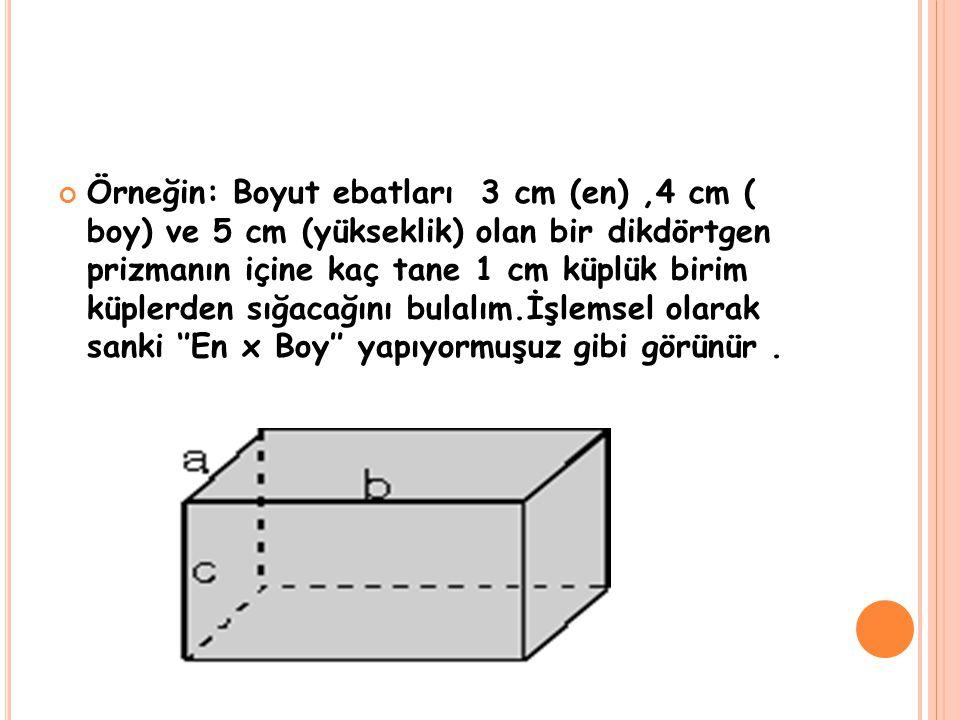 Örneğin: Boyut ebatları 3 cm (en),4 cm ( boy) ve 5 cm (yükseklik) olan bir dikdörtgen prizmanın içine kaç tane 1 cm küplük birim küplerden sığacağını
