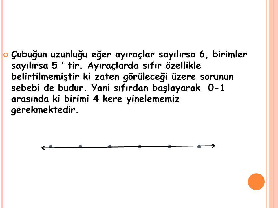 ... Çubuğun uzunluğu eğer ayıraçlar sayılırsa 6, birimler sayılırsa 5 ' tir. Ayıraçlarda sıfır özellikle belirtilmemiştir ki zaten görüleceği üzere so