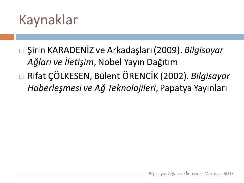 Kaynaklar  Şirin KARADENİZ ve Arkadaşları (2009). Bilgisayar Ağları ve İletişim, Nobel Yayın Dağıtım  Rifat ÇÖLKESEN, Bülent ÖRENCİK (2002). Bilgisa