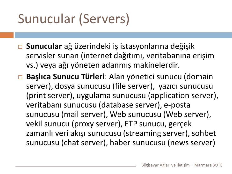 Sunucular (Servers)  Sunucular ağ üzerindeki iş istasyonlarına değişik servisler sunan (internet dağıtımı, veritabanına erişim vs.) veya ağı yöneten