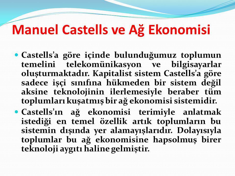 Manuel Castells ve Ağ Ekonomisi Castells'a göre içinde bulunduğumuz toplumun temelini telekomünikasyon ve bilgisayarlar oluşturmaktadır. Kapitalist si
