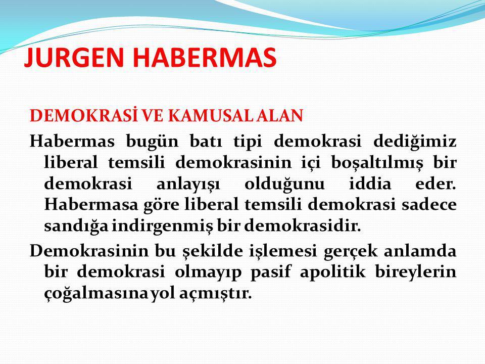 JURGEN HABERMAS DEMOKRASİ VE KAMUSAL ALAN Habermas bugün batı tipi demokrasi dediğimiz liberal temsili demokrasinin içi boşaltılmış bir demokrasi anla