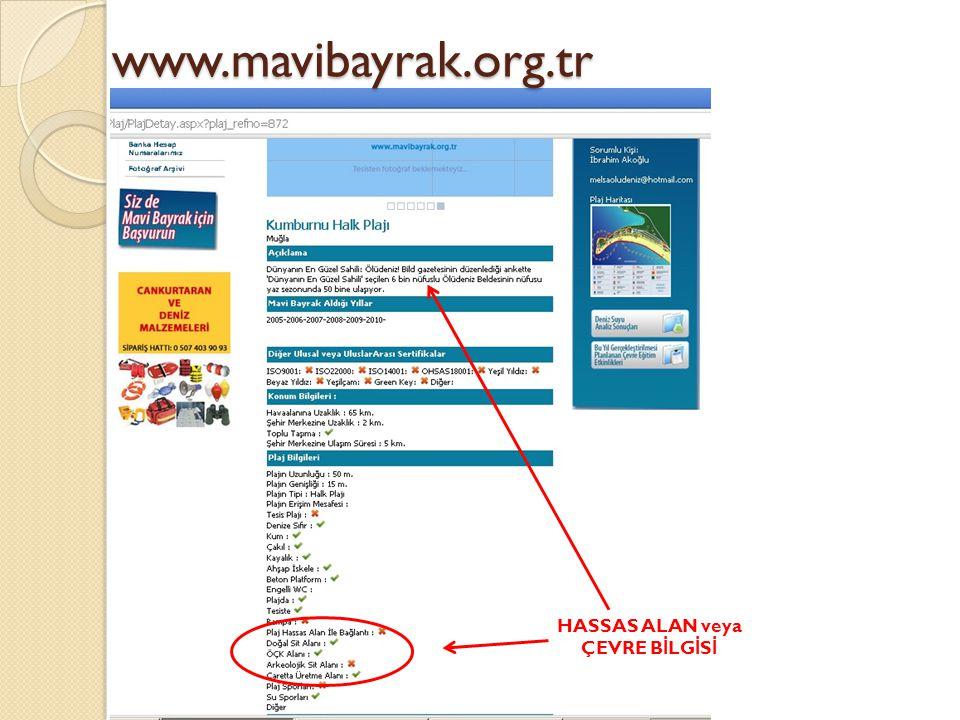www.mavibayrak.org.tr HASSAS ALAN veya ÇEVRE B İ LG İ S İ