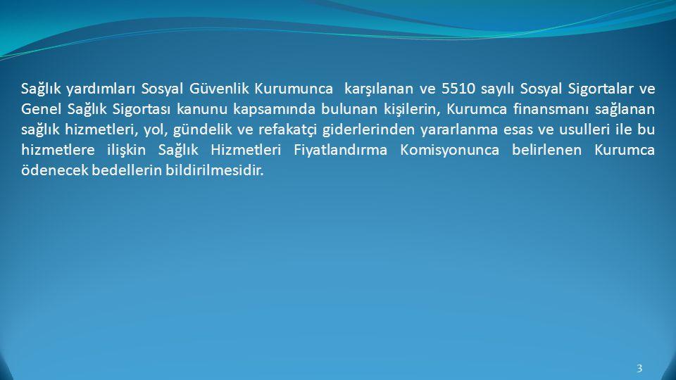 GENEL SAĞLIK SİGORTASI KAPSAMINDA OLAN KİŞİLER (1) Türkiye'de ikamet eden kişilerden; a) Kanunun 4 üncü maddesinin birinci fıkrasının (a), (b) ve (c) bentlerine tabi olanlar, b) İsteğe bağlı sigortalı olan kişiler, c) Yukarıdaki (a) ve (b) bentleri kapsamında sigortalı sayılmayanlardan; 2) Sığınmacı veya vatansız olarak kabul edilen kişiler, 3) 1/7/1976 tarihli ve 2022 sayılı 65 Yaşını Doldurmuş Muhtaç, Güçsüz ve Kimsesiz Türk Vatandaşlarına Aylık Bağlanması Hakkında Kanun hükümlerine göre aylık alan kişiler, 4) 24/2/1968 tarihli ve 1005 sayılı İstiklal Madalyası Verilmiş Bulunanlara Vatani Hizmet Tertibinden Şeref Aylığı Bağlanması Hakkında Kanun hükümlerine göre şeref aylığı alan kişiler, 5) 28/5/1986 tarihli ve 3292 sayılı Vatani Hizmet Tertibi Aylıklarının Bağlanması Hakkında Kanun hükümlerine göre aylık alan kişiler, 6) 3/11/1980 tarihli ve 2330 sayılı Nakdi Tazminat ve Aylık Bağlanması Hakkında Kanun hükümlerine göre aylık alan kişiler, 7) 24/5/1983 tarihli ve 2828 sayılı Sosyal Hizmetler ve Çocuk Esirgeme Kurumu Kanunu hükümlerine göre korunma, bakım ve rehabilitasyon hizmetlerinden ücretsiz faydalanan kişiler, 8) Harp malullüğü aylığı alan kişiler ile 12/4/1991 tarihli ve 3713 sayılı Terörle Mücadele Kanunu kapsamında aylık alan kişiler, 4