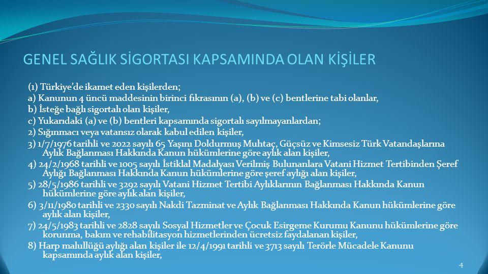 GENEL SAĞLIK SİGORTASI KAPSAMINDA OLAN KİŞİLER (1) Türkiye'de ikamet eden kişilerden; a) Kanunun 4 üncü maddesinin birinci fıkrasının (a), (b) ve (c)