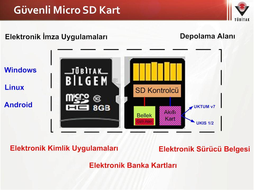 Teknik Özellikler İletişim Arabirimi – SD/USB Arayüzünden Akıllı Kartın Kullanılabilmesi Akıllı Kart – Milli Tasarımlı Yonga (UKTÜM v7) – Milli (AKİS 1/2) Akıllı Kart İşletim Sistemi – CC Onaylı Donanım ve İşletim Sistemi Bellek – Bellek Kapasitesi Opsiyon 1 : 8 GB Açık Alan Opsiyon 2 : 2 GB Açık Alan / 6 GB Gizli Alan – Verilerin şifreli saklanabilmesi (Gizli Alan) – PIN ve Rol sertifikası ile erişim kontrolü (Gizli Alan) – Oturum anahtarı oluşturabilme özelliği (Gizli Alan) Tak ve Çalıştır Özelliği – Windows / Linux / Android işletim sistemleri – 32 ve 64 Bit Sürümleri