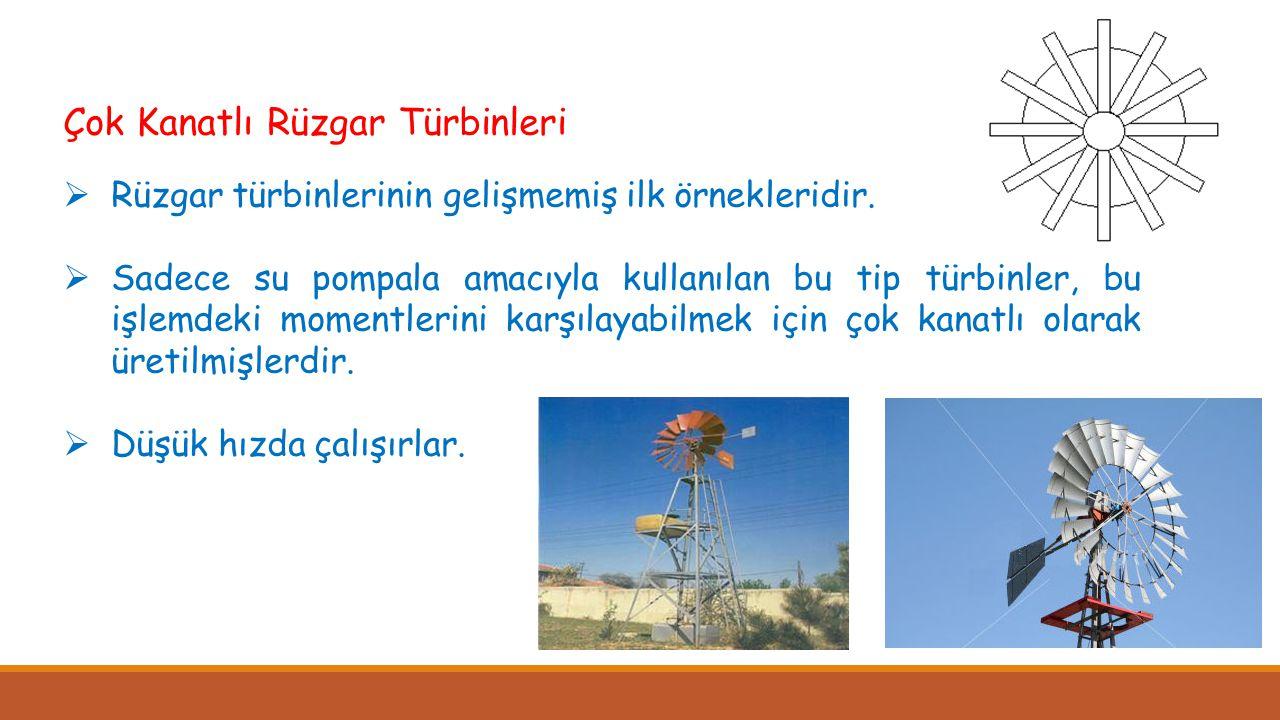 Çok Kanatlı Rüzgar Türbinleri  Rüzgar türbinlerinin gelişmemiş ilk örnekleridir.  Sadece su pompala amacıyla kullanılan bu tip türbinler, bu işlemde