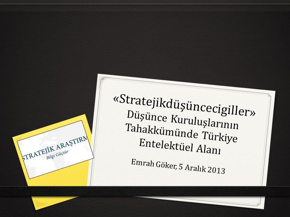 «Stratejikdüşüncecigiller» Düşünce Kuruluşlarının Tahakkümünde Türkiye Entelektüel Alanı Emrah Göker, 5 Aralık 2013
