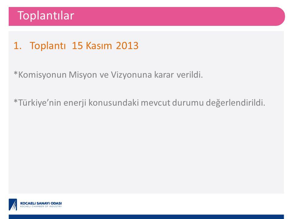 Toplantılar 1.Toplantı15 Kasım 2013 *Komisyonun Misyon ve Vizyonuna karar verildi.