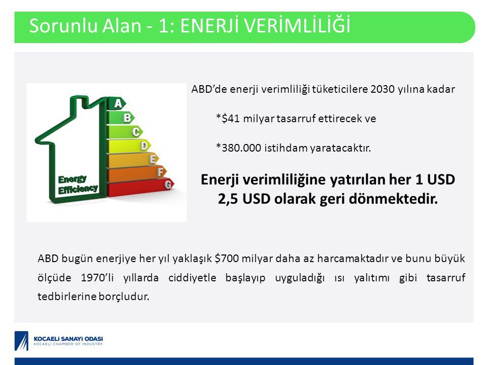 Sorunlu Alan - 1: ENERJİ VERİMLİLİĞİ ABD'de enerji verimliliği tüketicilere 2030 yılına kadar *$41 milyar tasarruf ettirecek ve *380.000 istihdam yaratacaktır.
