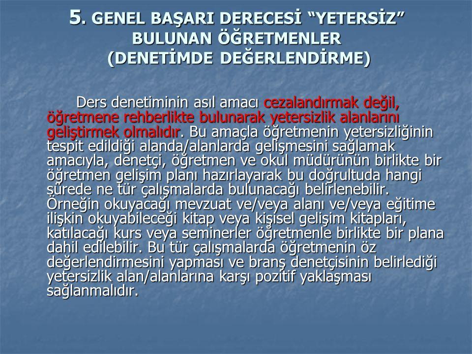 """5. GENEL BAŞARI DERECESİ """"YETERSİZ"""" BULUNAN ÖĞRETMENLER (DENETİMDE DEĞERLENDİRME) Ders denetiminin asıl amacı cezalandırmak değil, öğretmene rehberlik"""