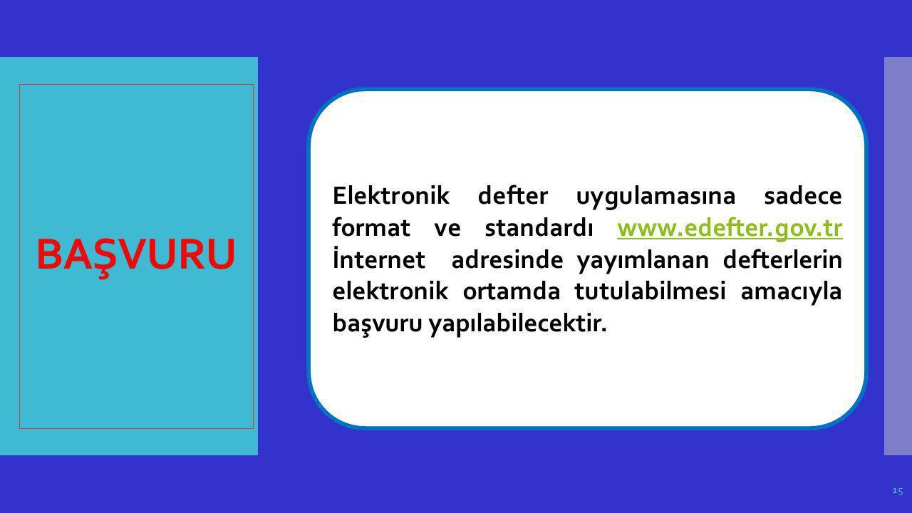 BAŞVURU Elektronik defter uygulamasına sadece format ve standardı www.edefter.gov.tr İnternet adresinde yayımlanan defterlerin elektronik ortamda tutu