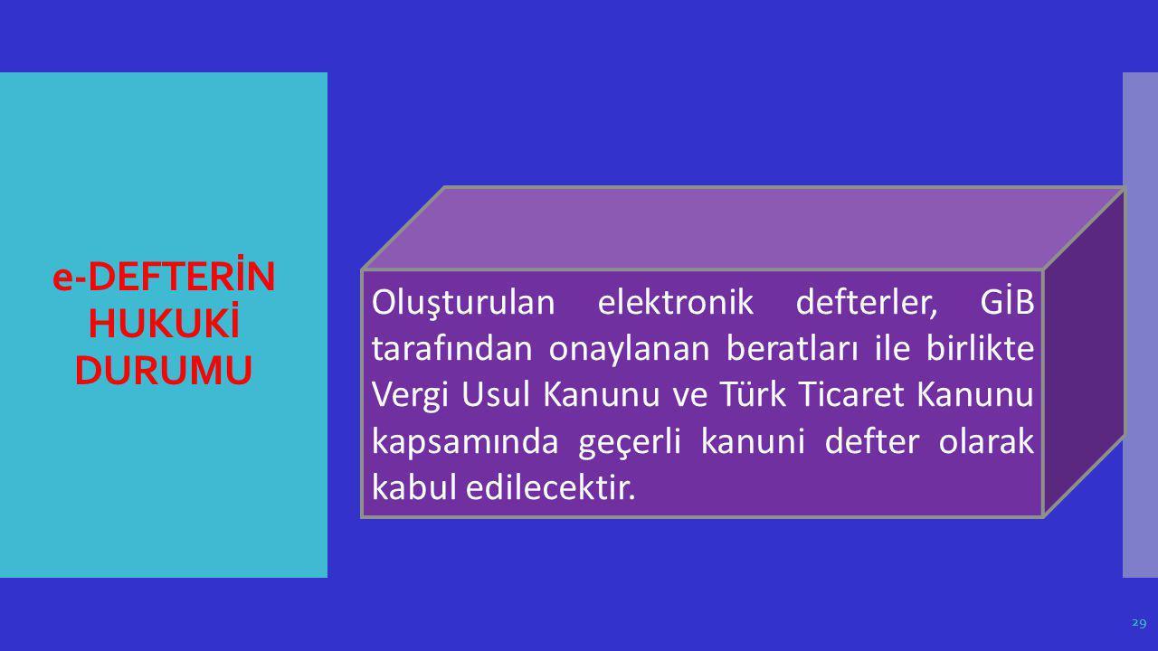 e-DEFTERİN HUKUKİ DURUMU Oluşturulan elektronik defterler, GİB tarafından onaylanan beratları ile birlikte Vergi Usul Kanunu ve Türk Ticaret Kanunu ka