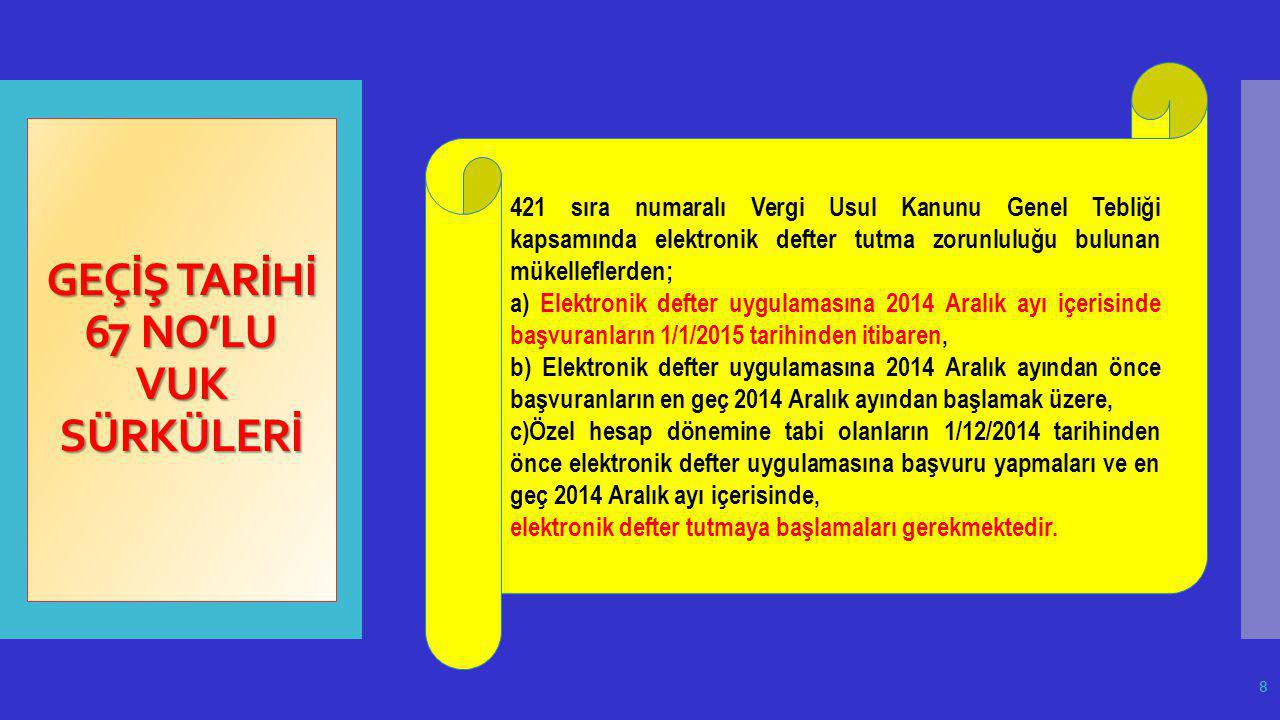 GEÇİŞ TARİHİ 67 NO'LU VUK SÜRKÜLERİ 421 sıra numaralı Vergi Usul Kanunu Genel Tebliği kapsamında elektronik defter tutma zorunluluğu bulunan mükellefl