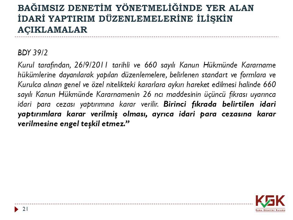 BAĞIMSIZ DENETİM YÖNETMELİĞİNDE YER ALAN İDARİ YAPTIRIM DÜZENLEMELERİNE İLİŞKİN AÇIKLAMALAR BDY 39/2 Kurul tarafından, 26/9/2011 tarihli ve 660 sayılı