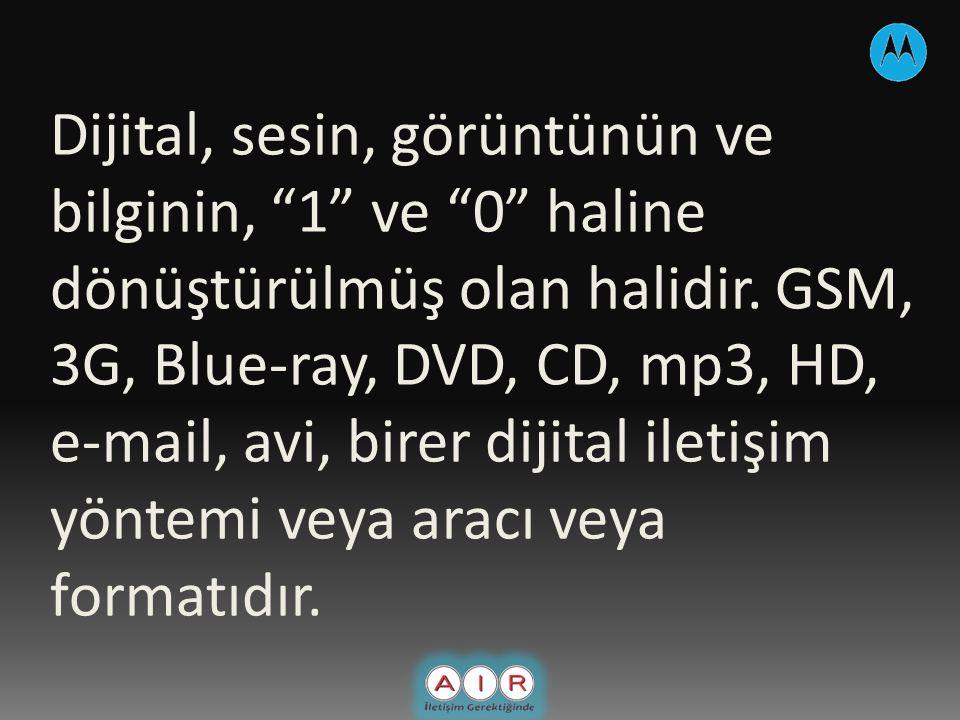 Dijital, sesin, görüntünün ve bilginin, 1 ve 0 haline dönüştürülmüş olan halidir.