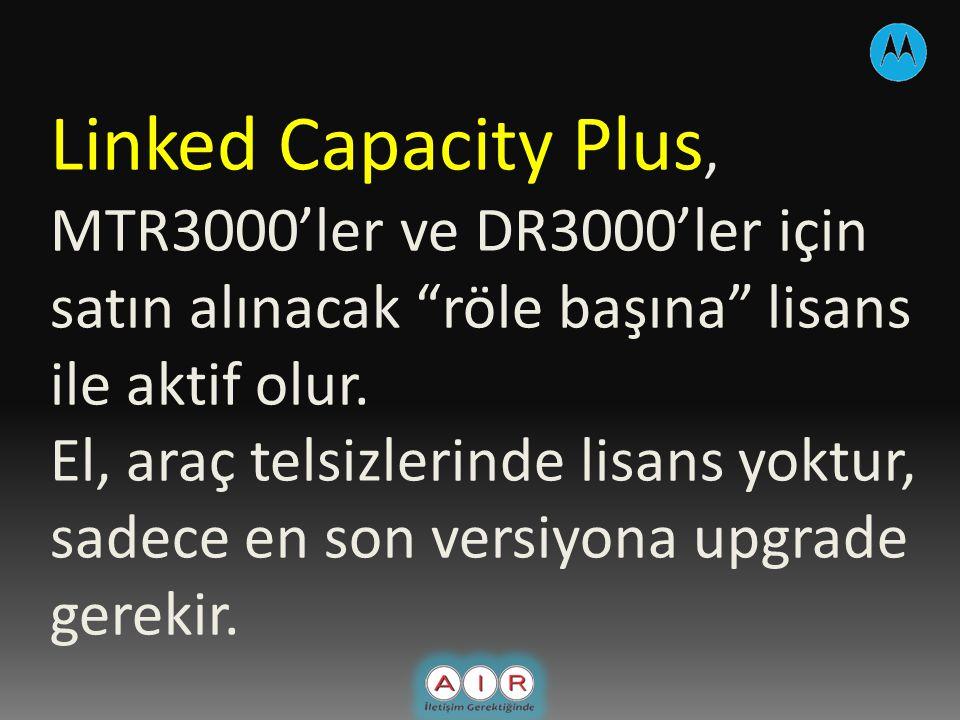 Linked Capacity Plus, MTR3000'ler ve DR3000'ler için satın alınacak röle başına lisans ile aktif olur.