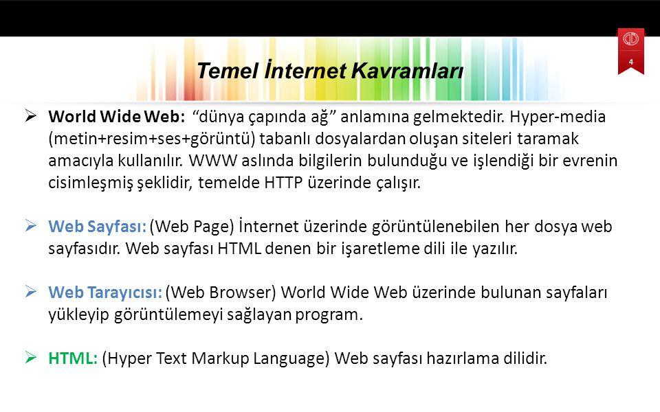 """ World Wide Web: """"dünya çapında ağ"""" anlamına gelmektedir. Hyper-media (metin+resim+ses+görüntü) tabanlı dosyalardan oluşan siteleri taramak amacıyla"""