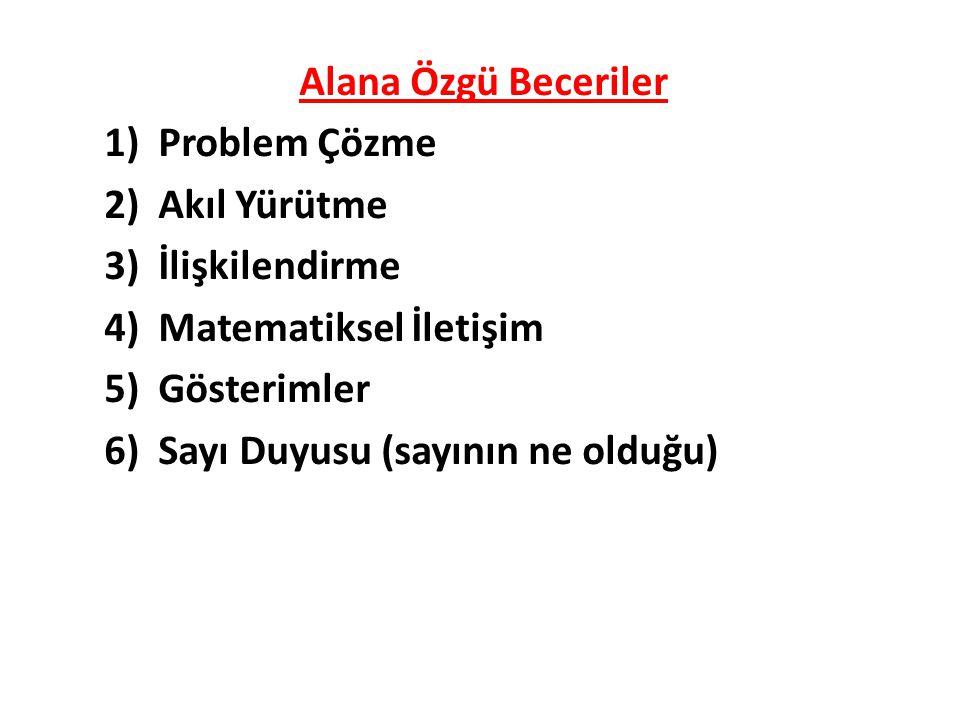 Alana Özgü Beceriler 1)Problem Çözme 2)Akıl Yürütme 3)İlişkilendirme 4)Matematiksel İletişim 5)Gösterimler 6)Sayı Duyusu (sayının ne olduğu)