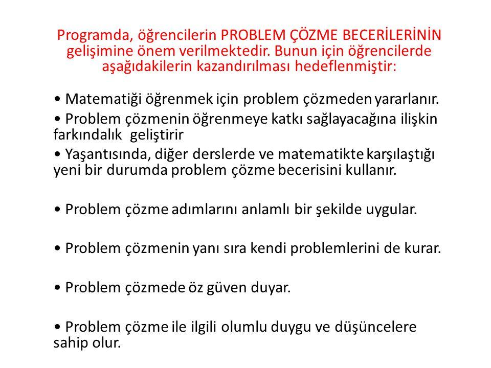 Programda, öğrencilerin PROBLEM ÇÖZME BECERİLERİNİN gelişimine önem verilmektedir.