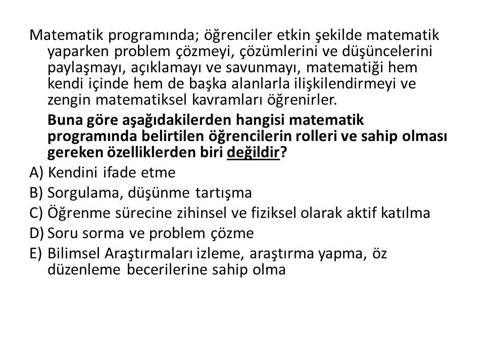MATEMATİK EĞİTİMİNİN GENEL AMAÇLARI 1.