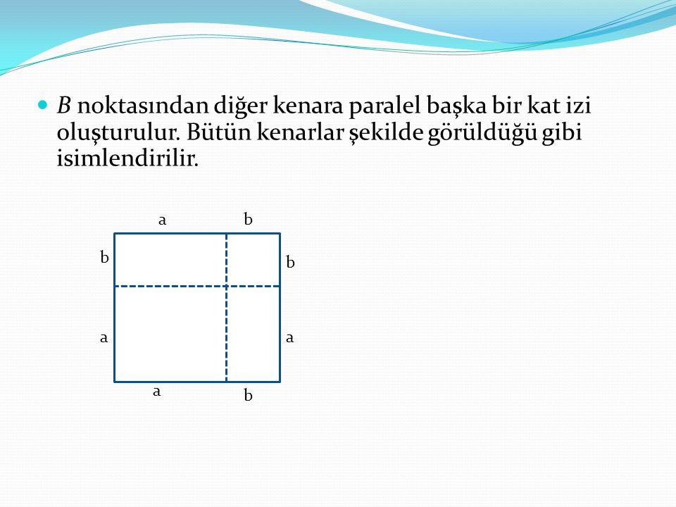 B noktasından diğer kenara paralel başka bir kat izi oluşturulur. Bütün kenarlar şekilde görüldüğü gibi isimlendirilir. ab a b a b a b