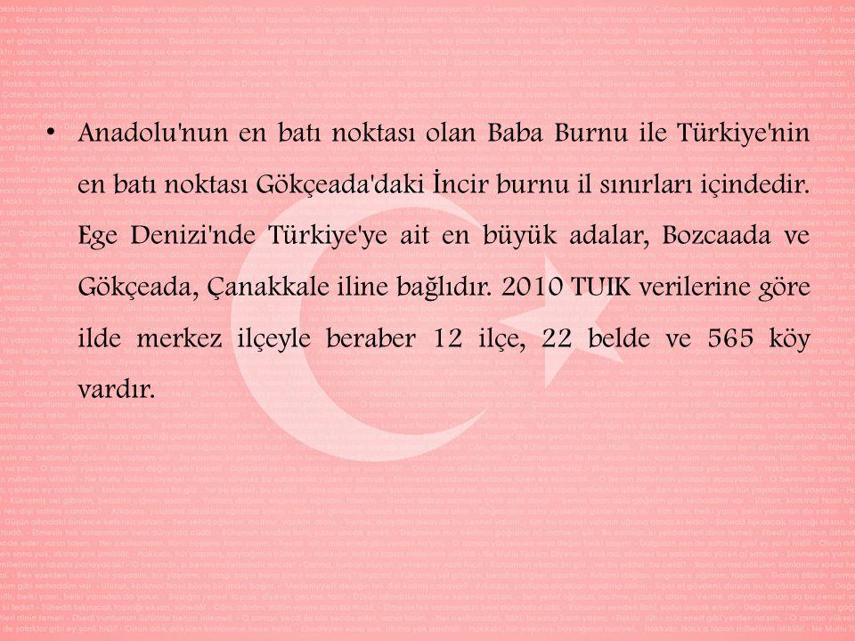 Anadolu nun en batı noktası olan Baba Burnu ile Türkiye nin en batı noktası Gökçeada daki İ ncir burnu il sınırları içindedir.