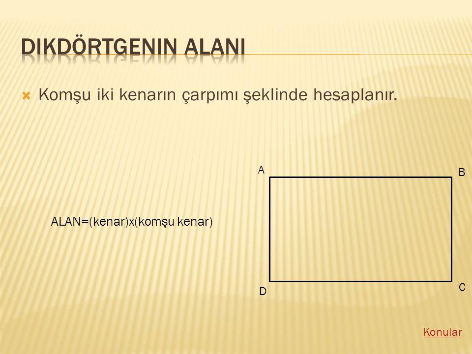 KKomşu iki kenarın çarpımı şeklinde hesaplanır. A B C D ALAN=(kenar)x(komşu kenar)