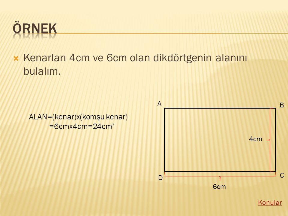 KKenarları 4cm ve 6cm olan dikdörtgenin alanını bulalım.