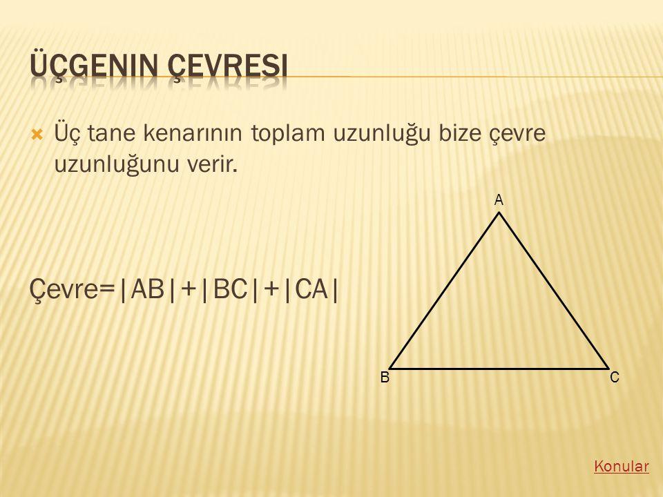 ÜÜç tane kenarının toplam uzunluğu bize çevre uzunluğunu verir. Çevre=|AB|+|BC|+|CA| A BC