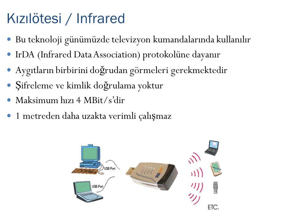 Bu teknoloji günümüzde televizyon kumandalarında kullanılır IrDA (Infrared Data Association) protokolüne dayanır Aygıtların birbirini do ğ rudan görmeleri gerekmektedir Ş ifreleme ve kimlik do ğ rulama yoktur Maksimum hızı 4 MBit/s'dir 1 metreden daha uzakta verimli çalı ş maz Kızılötesi / Infrared